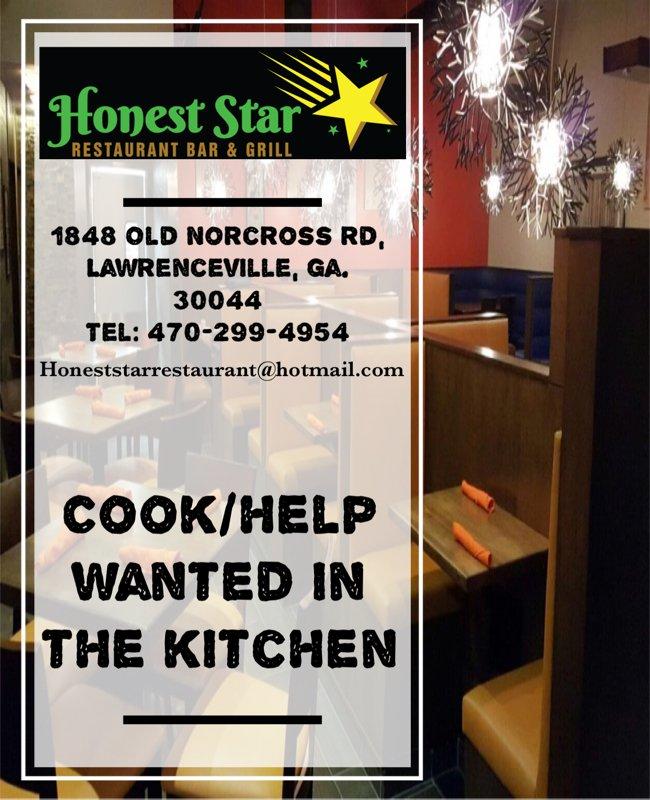 Honest Star Restaurant Bar & Grill: 1848 Old Norcross Rd, Lawrenceville, GA