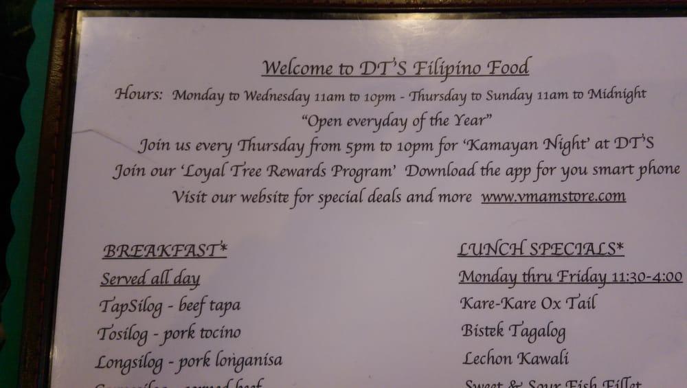 Extensive menu of filipino vietnamese , thai and chinese