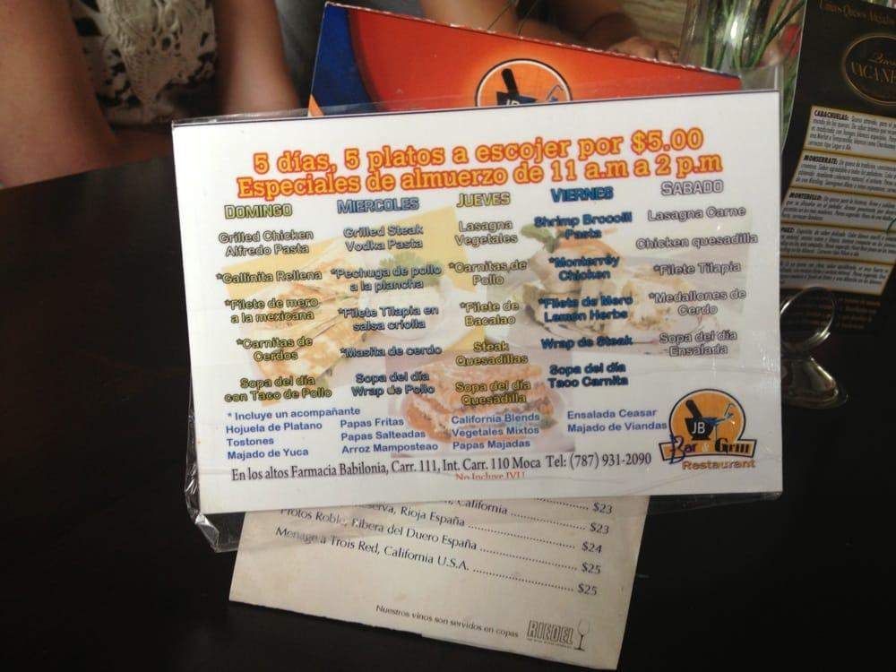 JB Bar & Grill: Puerto Rico 110, Moca, PR