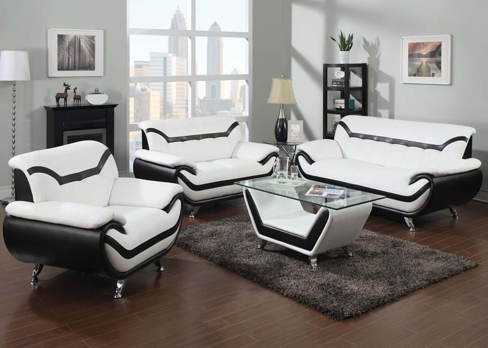 2 toned black and white sofa love seat we finance deliver for Furniture stores in irving tx