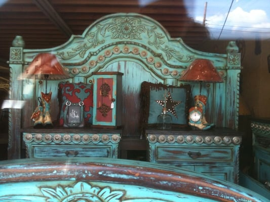 Turquoise Mahogany Bed With Silver Conchos