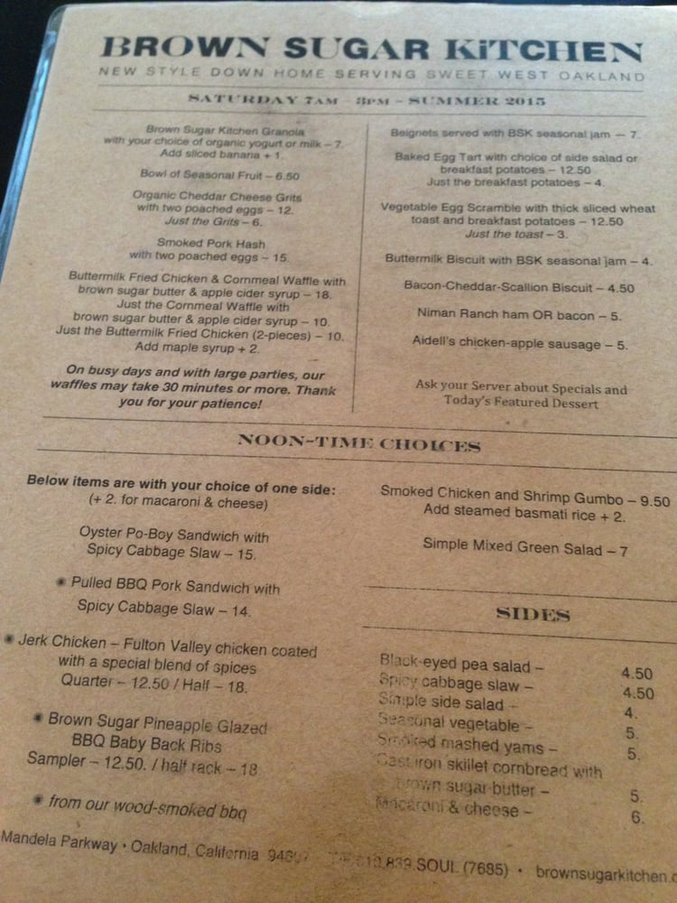 brunch and lunch menu at brown sugar kitchen in oakland yelp