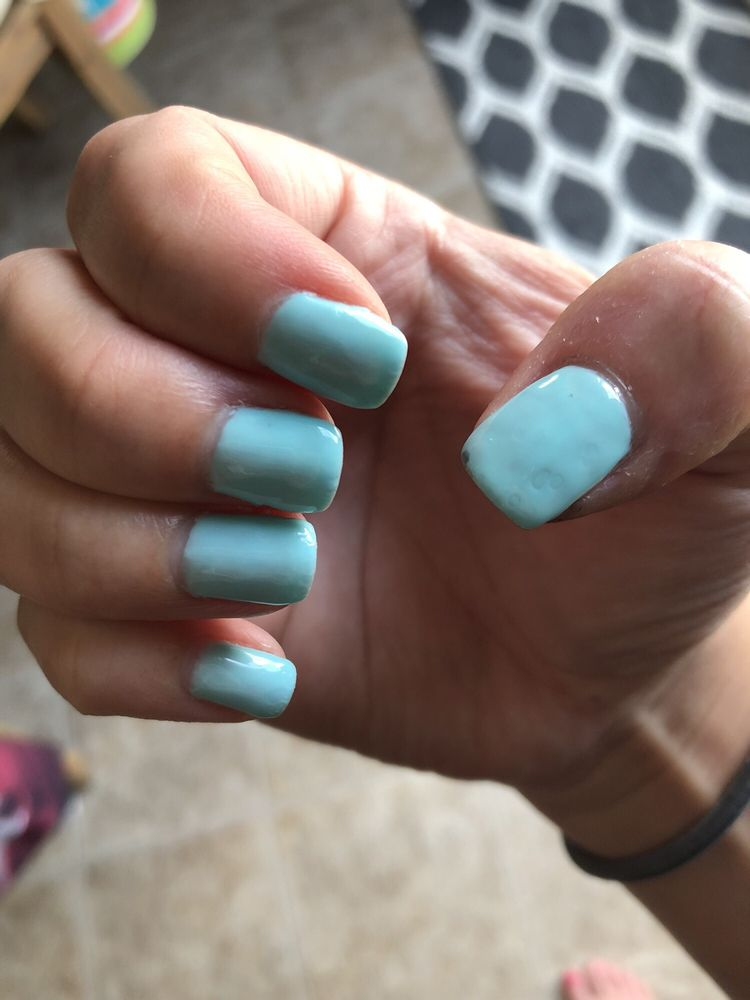 Worst Manicure Ever Uneven Polish Around Cuticles Bubbly Top Coat