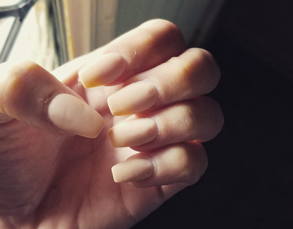 Dipping powder, with no coat for a matte finish. Ballerina tip. - Yelp