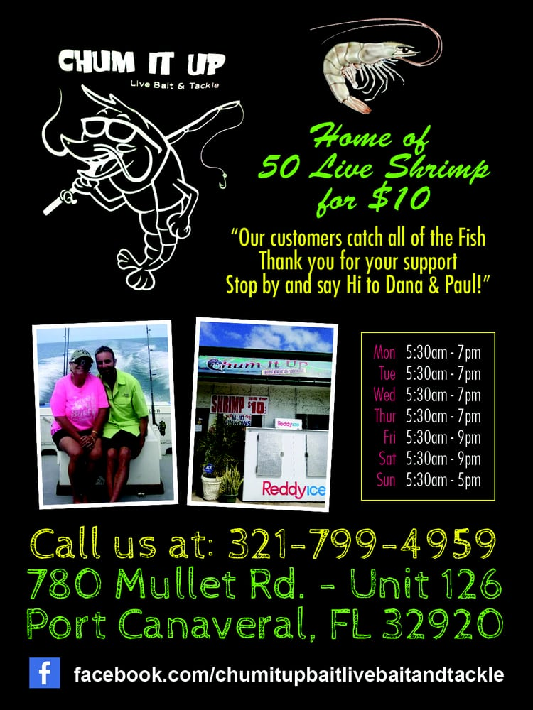 Chum It Up Live Bait and Tackle: 780 Mullet Rd, Cape Canaveral, FL