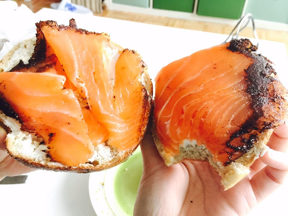 Left pepper corn smoked salmon right pastrami smoked for Acme smoked fish