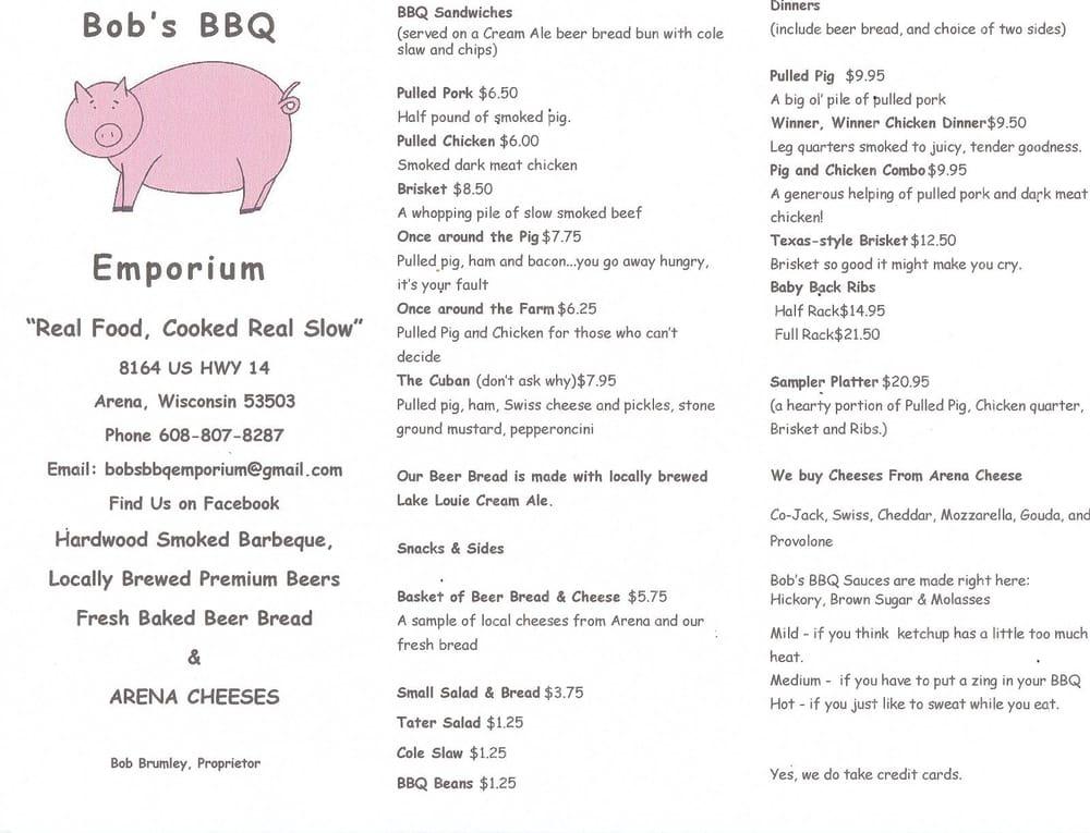 Bob's BBQ Emporium: 8164 US Hwy 14, Arena, WI