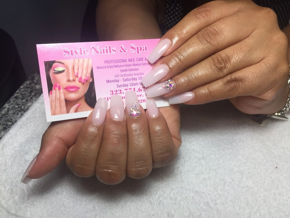 Photo of Style Nails & Spa - Bell, CA, United States. Cool Pink - Cool Pink Powder On Coffin Nails With Diamond Design. - Yelp