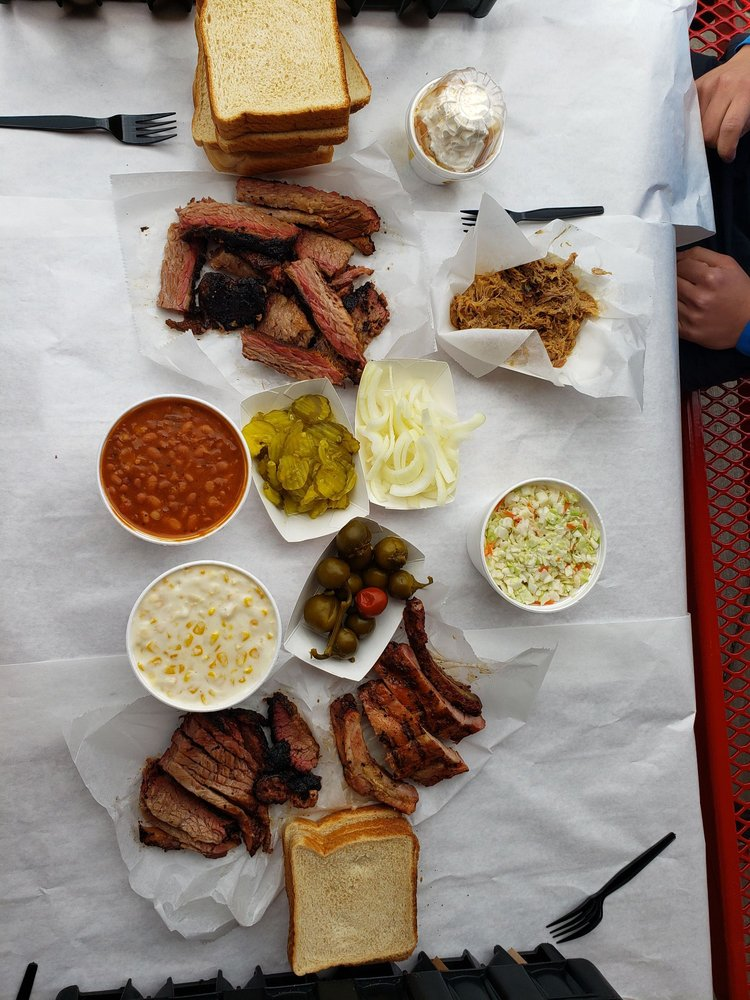 """Food from Rudy's """"Country Store"""" and Bar-B-Q"""