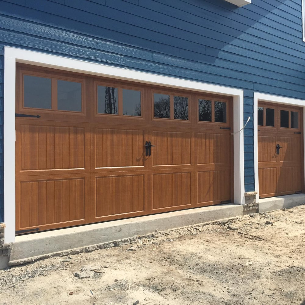 16x8 8x8 amarr classica 3000 cortona design golden oak for 16x8 garage door prices