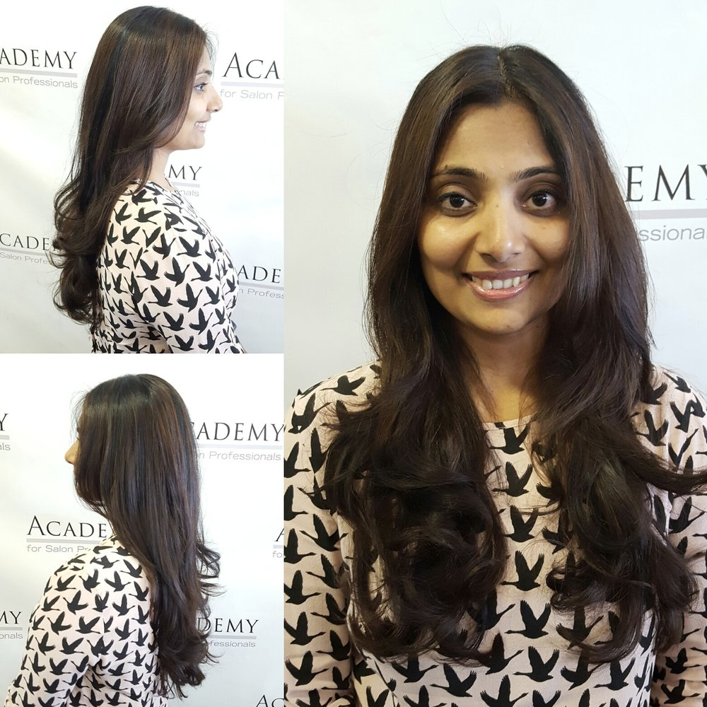 Hair colored cut and styled by shikha yelp for Academy of salon professionals santa clara