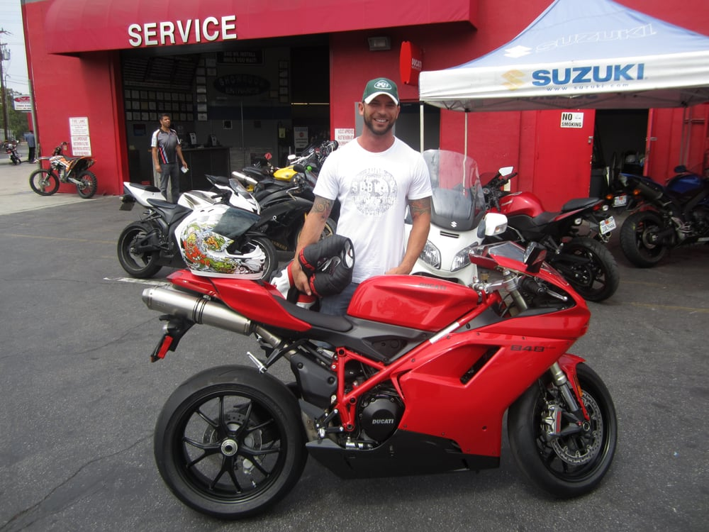 Weston with his brand new ducati 848 yelp for Del amo motor sport