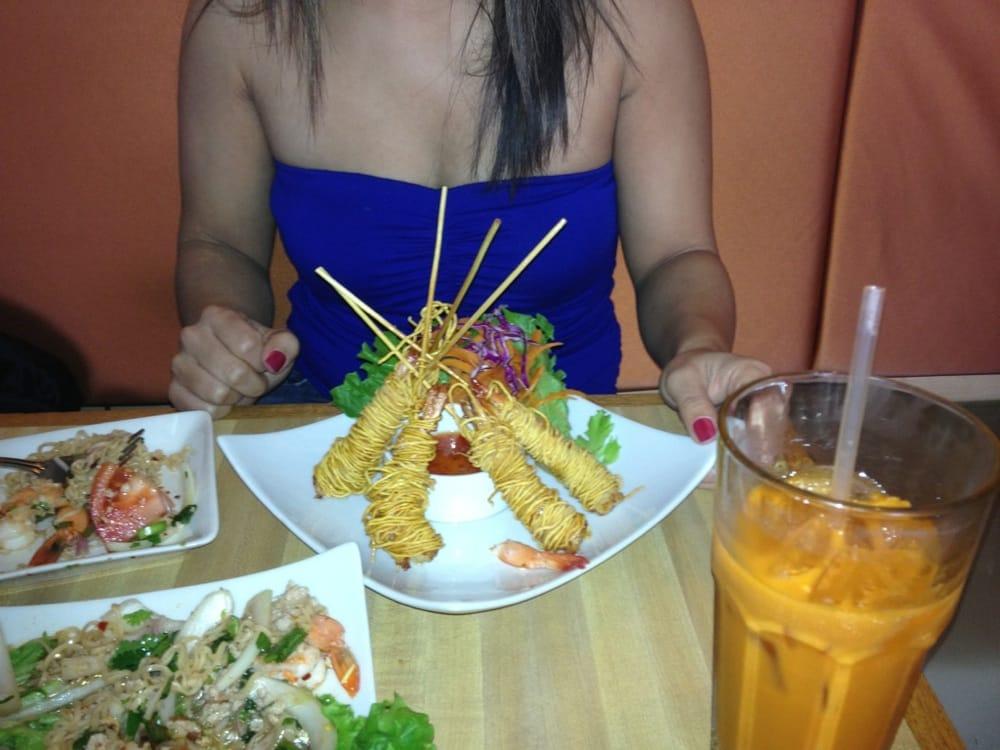 Ganoog Sarong fried shrimp wrapped in crispy noodles