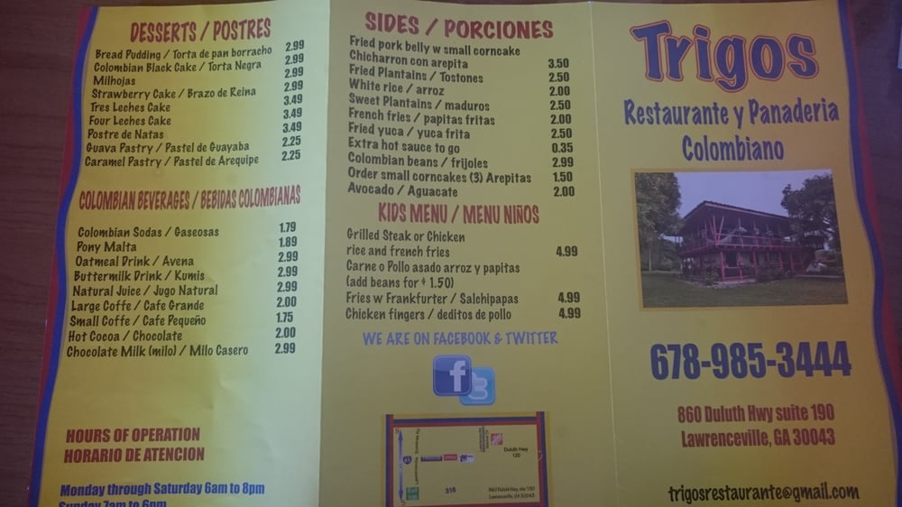 Trigos Colombian Restaurant Menu
