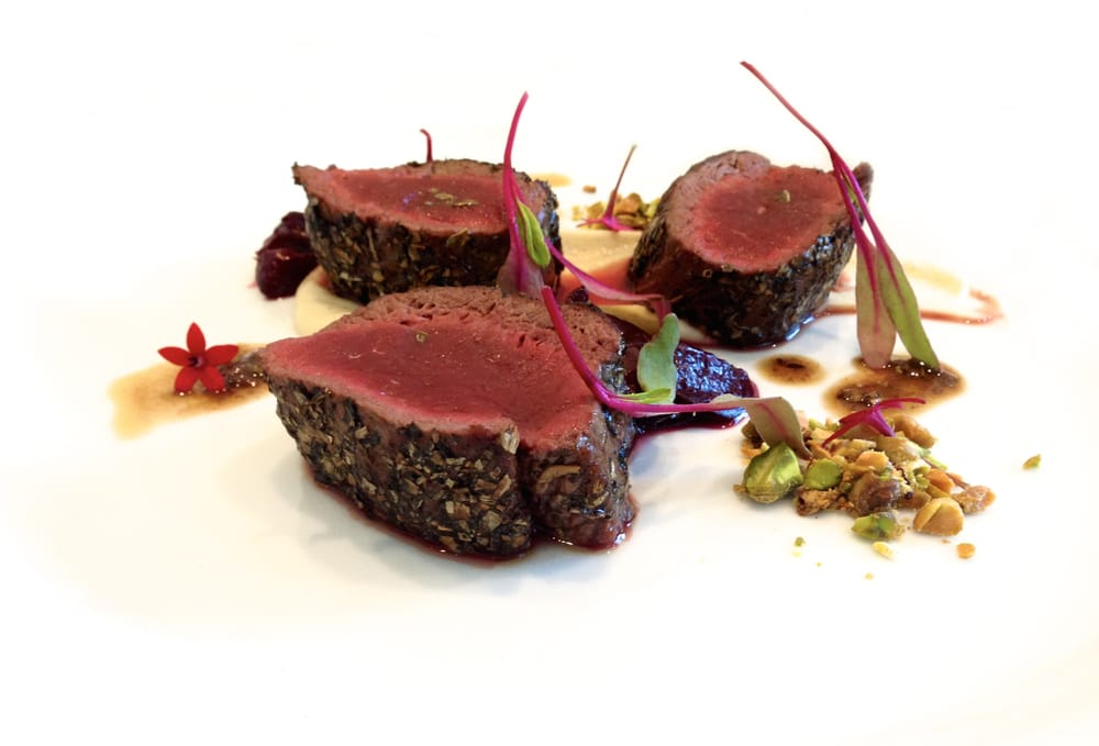 Award winning venison pan roasted with sweet potato for Aroha new zealand cuisine