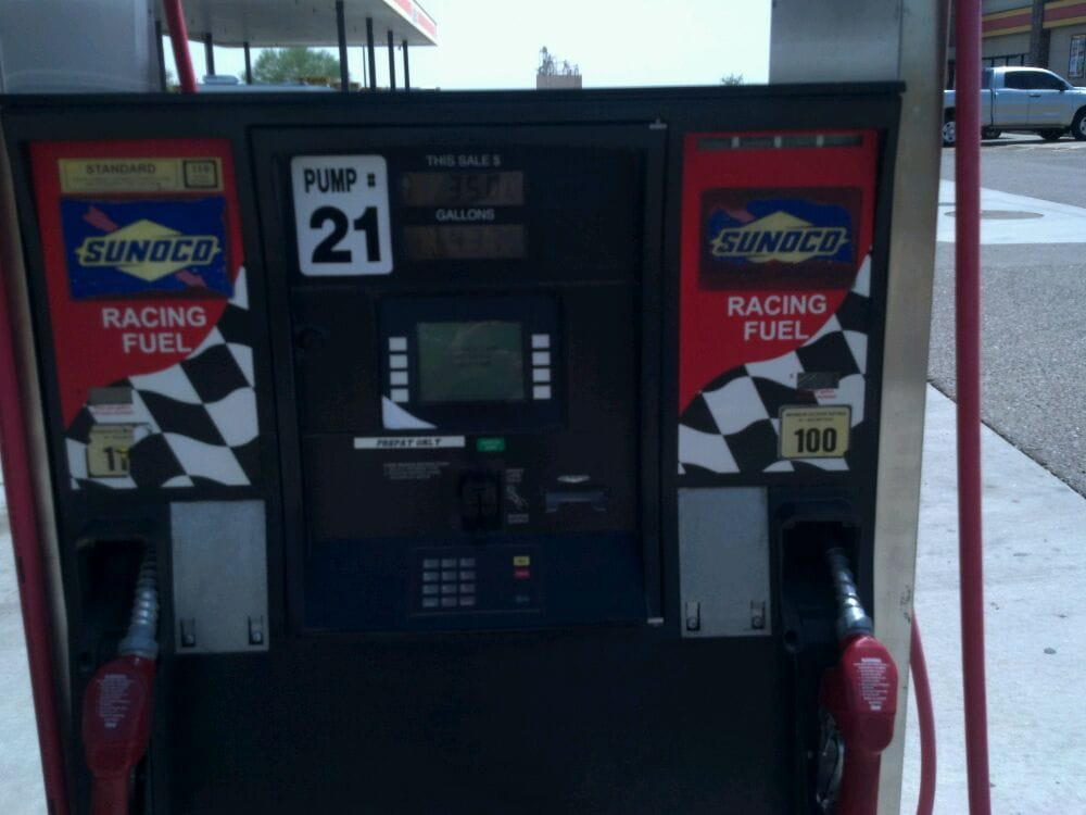 Racing fuel    100, and 110 octane      currently $7 99