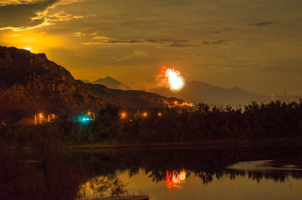 4th Of July Fireworks Show At City Of Moab Ut Taken From