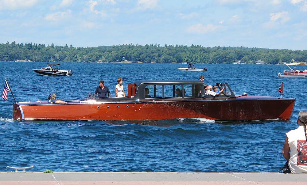 Antique Boat Show And Auction Parade On St Lawrence River