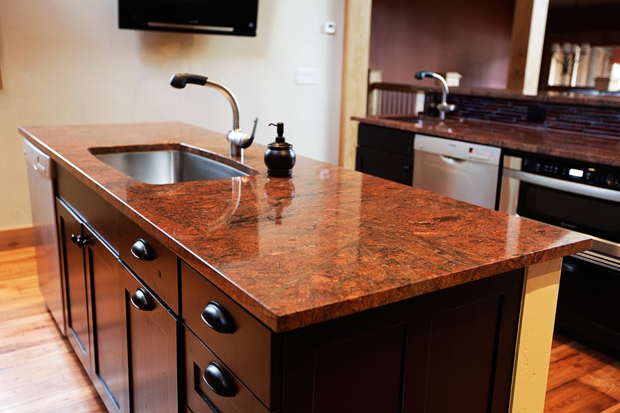 Red malibu island granite countertop yelp for Granite countertop support requirements