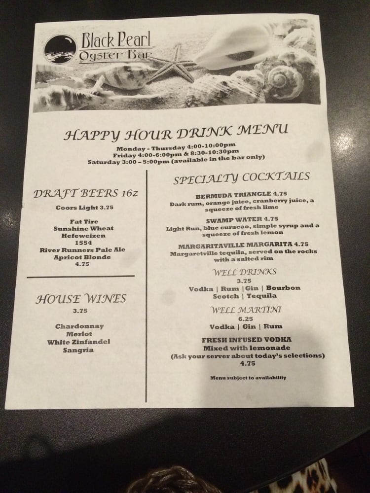Happy hour drink menu yelp for Fresh fish company menu