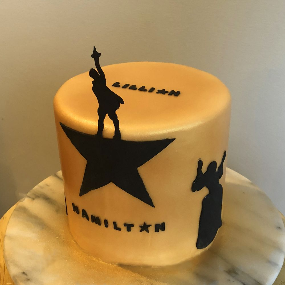 Hamilton Themed Birthday Cake In Gold And Black Yelp