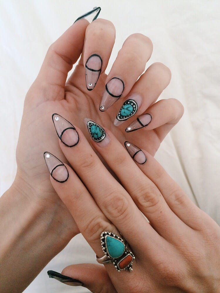 Clear gel nail extensions with custom made 3D gel turquoise stones ...