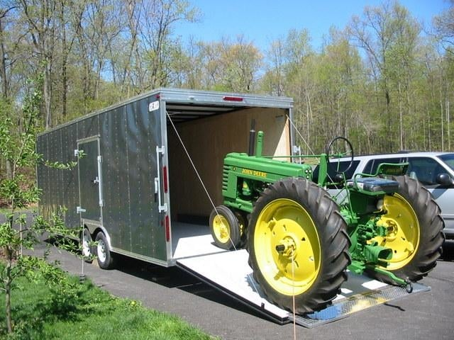 Antique Tractor Trailers : Enclosed cargo trailers to haul and store antique john