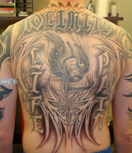 Shoulders back tattoo by resident artist bezo yelp for Painful pleasures tattoo