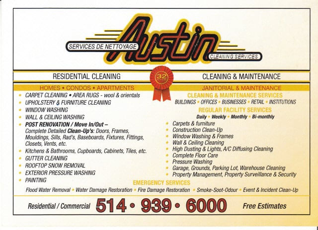 list of cleaning services offered