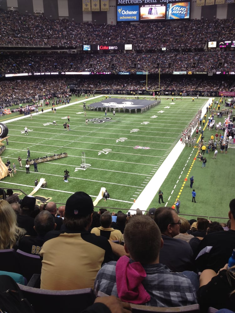 View from section 321 row 14 great seats yelp for Mercedes benz new orleans service