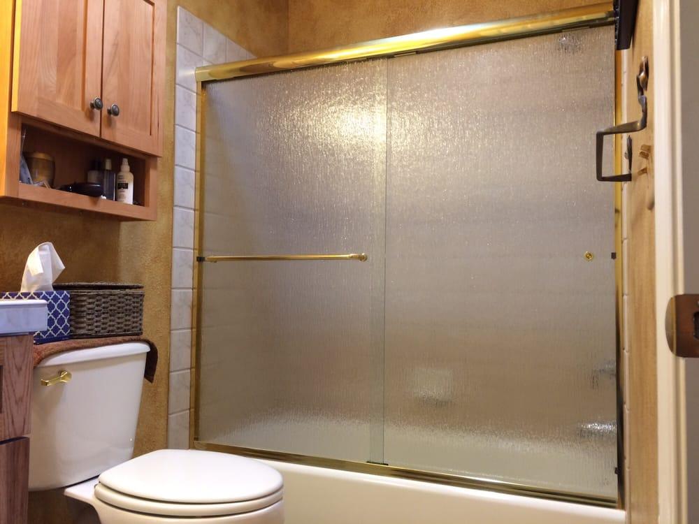 Arizona Bi-Pass Sliding shower enclosure gold hardware with 1/4 ...