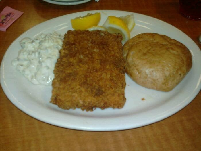 The famous square shaped fried fish yelp for Lubys fried fish