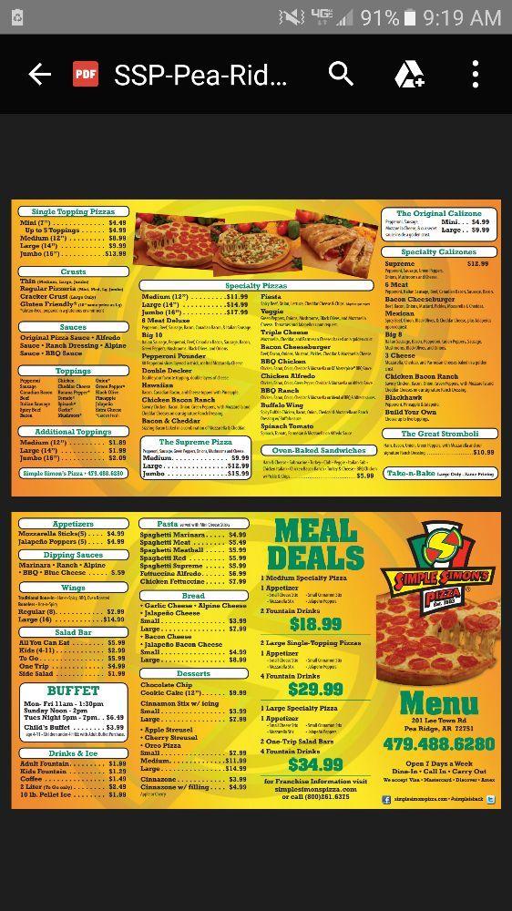 Simple Simon's Pizza: 201 Lee Town Rd, Pea Ridge, AR