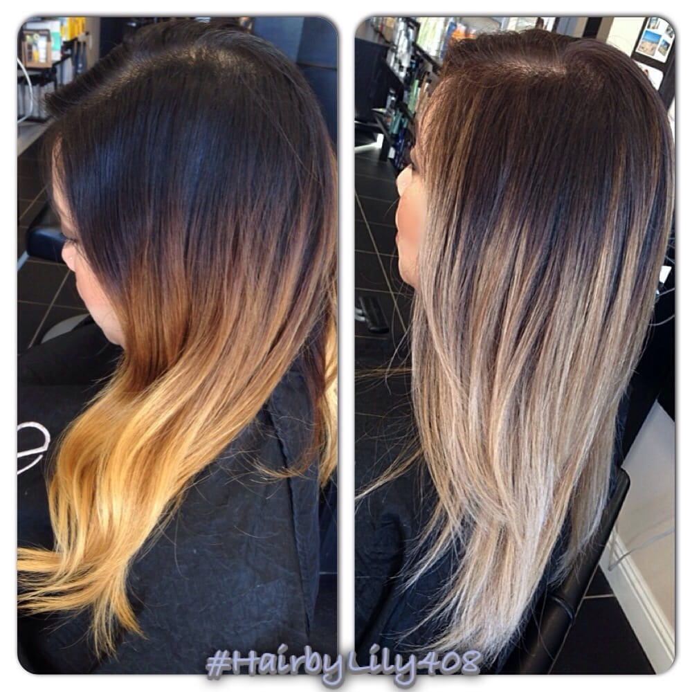 Before And After Ombr With Balayage Ash Blond Ends Yelp