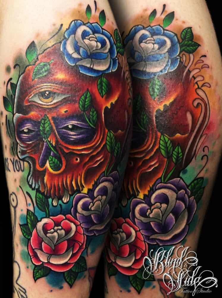 New School Style Skull With A Mix Of Neo Traditional Roses For A
