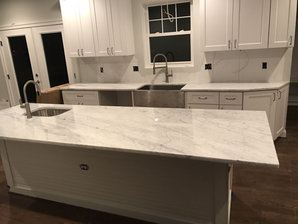 White Carrera Marble Countertop With Farm Sink Yelp