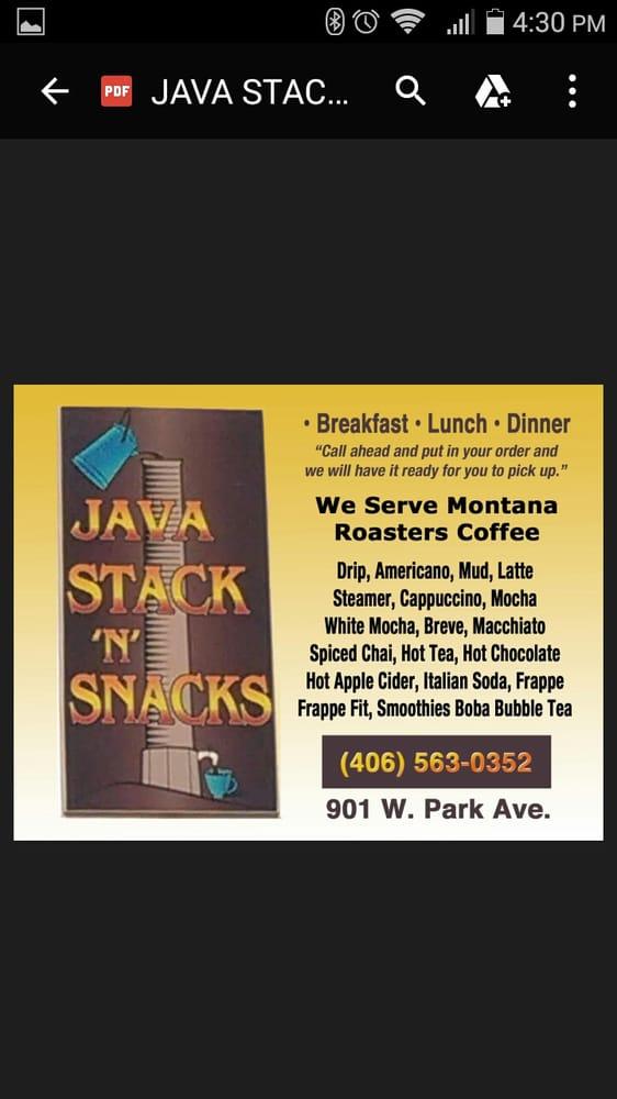 Java Stack N Snacks: 901 W Park Ave, Anaconda, MT