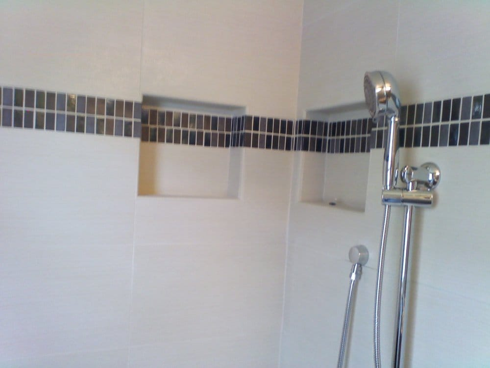 Ceramic Tile Shower Wall Cut Outs Bathroom Remodeling Yelp
