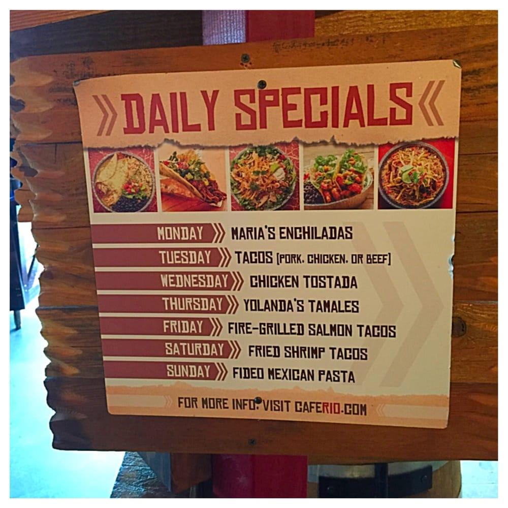 Cafe Rio Daily Specials Menu