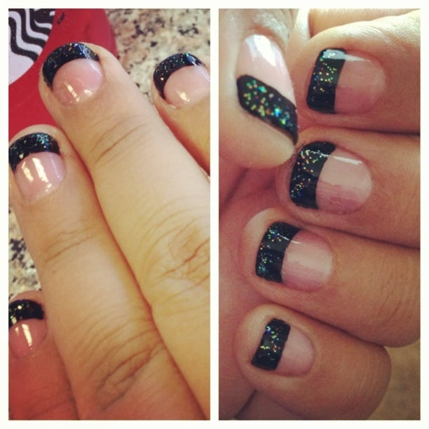 Black tips with glitter. (On Natural nails) $15 - Yelp