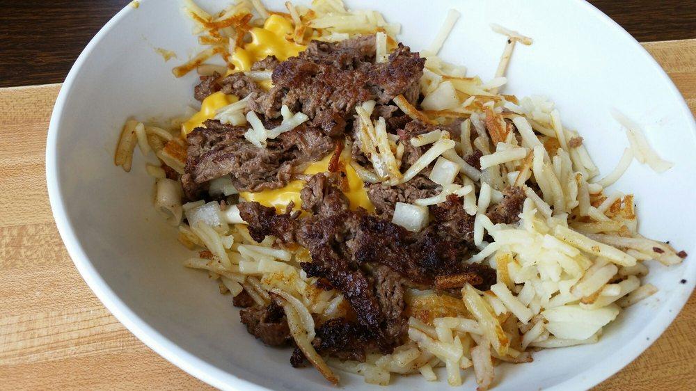 Cheese steak hash brown bowl - Yelp
