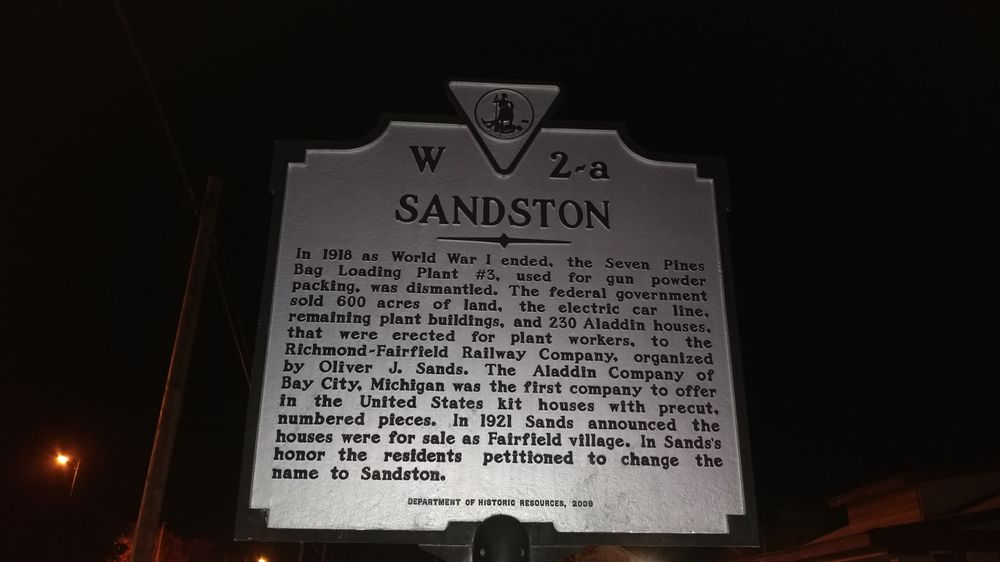 Sandston Historical Marker: 2971 LA-182, Sunset, VA