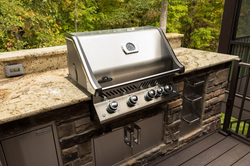 This Outdoor Kitchen Includes A Napoleon Pro Series Built