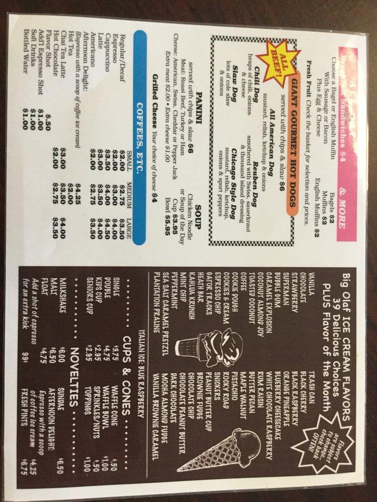 Big Olaf Ice Cream & Coffee Caffe - menu - Yelp