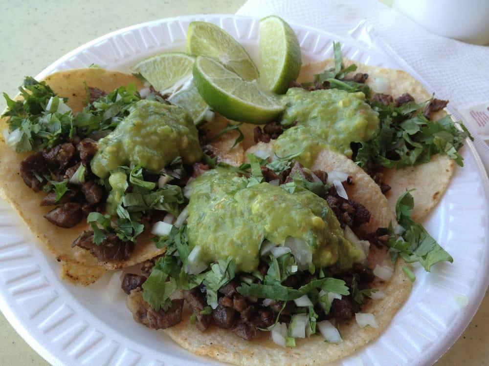 ... San Jose, CA, United States. Carne Asada tacos with guacamole salsa