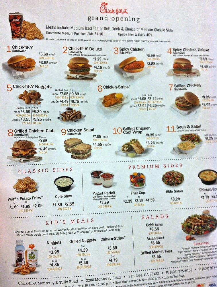 This is a photo of Vibrant Chickfila Printable Menu