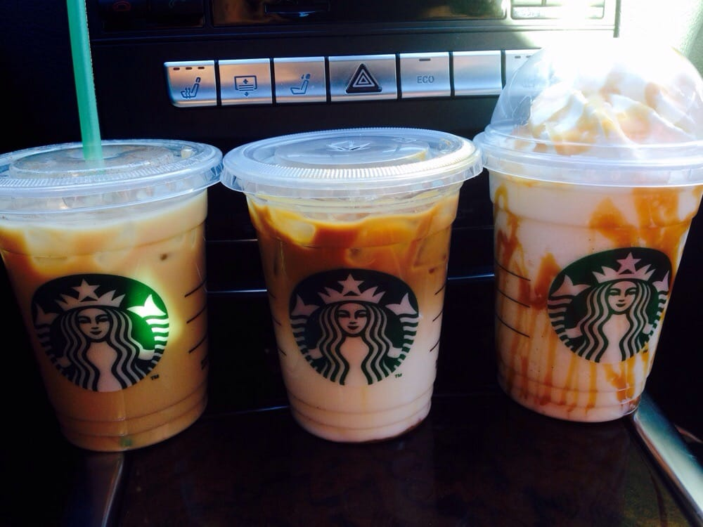 Iced Cinnamon Dolce Latte, Iced Caramel Macchiato, and a ...
