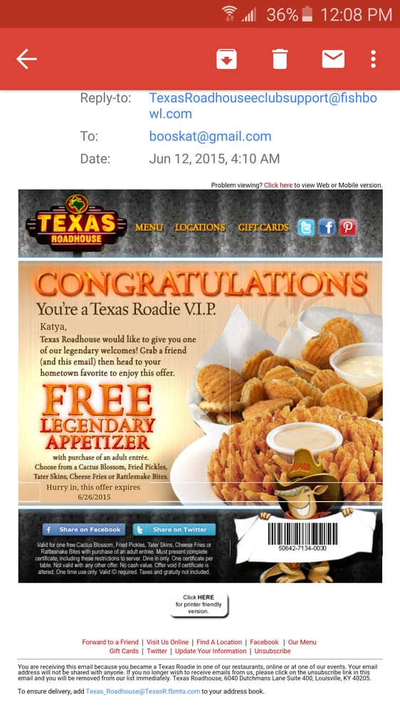Texas roadhouse mobile al coupons