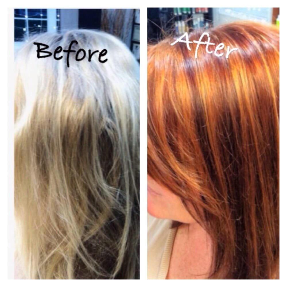 Dramatic Change From Blonde To Auburn With Lowlights And Highlights