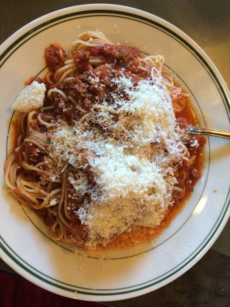 Child S Portion Of Angel Hair Pasta With Meat Sauce Yelp